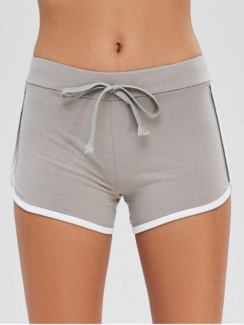 outfits Drawstring Contrast Piping Shorts - LIGHT GRAY XL Mobile