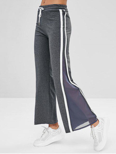 hot Striped Mesh Insert Flare Pants - DARK GRAY M Mobile