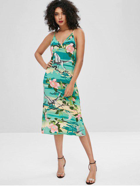 unique Crane Floral Print Slits Cami Dress - MULTI M Mobile