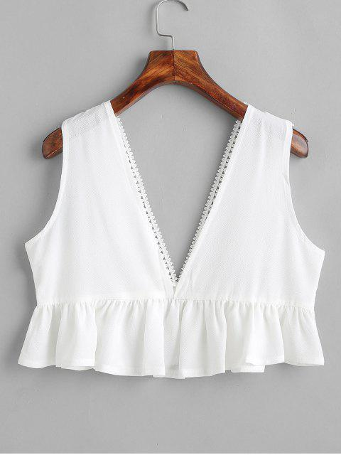 hot Plunging Crochet Flounce Tank Top - WHITE S Mobile