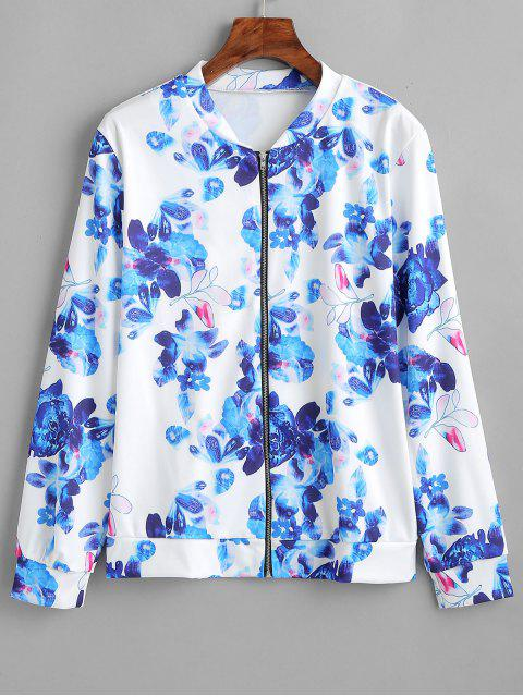 womens Flower Zipper Jacket - BLUE L Mobile