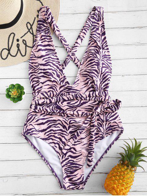 hot ZAFUL Zebra Print Crisscross One Piece Swimsuit - PURPLE AMETHYST L Mobile