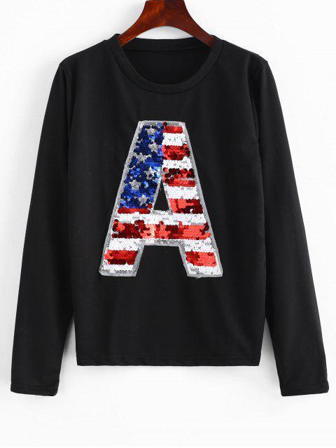 shop Pullover Glitter Sequined Sweatshirt - BLACK S Mobile