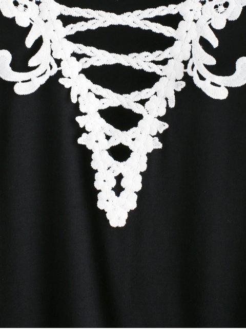 T-shirt Plongeant Croisé au Crochet de Grande Taille - Noir 5X Mobile