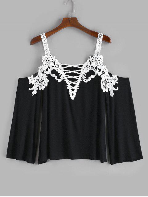 shops Plus Size Crochet Criss Cross Plunging T-shirt - BLACK 4X Mobile