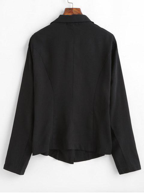 Blazer Embelli de Bouton à Col Revers - Noir L Mobile