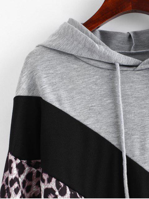 women's Color Block Leopard Pullover Hoodie - MULTI XL Mobile