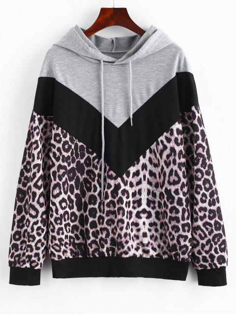 ladies Color Block Leopard Pullover Hoodie - MULTI M Mobile