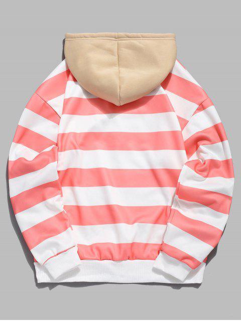 buy Contrast Striped Print Fleece Hoodie - PINK M Mobile