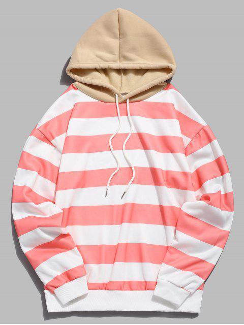 trendy Contrast Striped Print Fleece Hoodie - PINK L Mobile