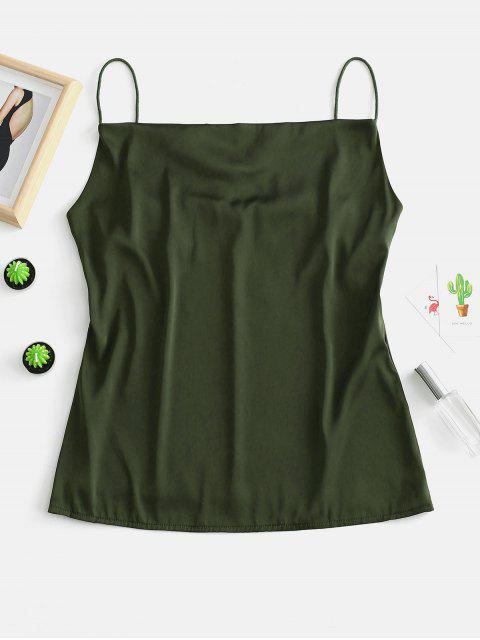 lady ZAFUL Satin Plain Cami Tank Top - ARMY GREEN ONE SIZE Mobile