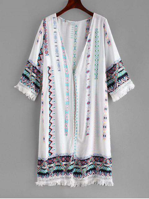 Kimono De Playa Con Flecos Impreso - Blanco Talla única Mobile