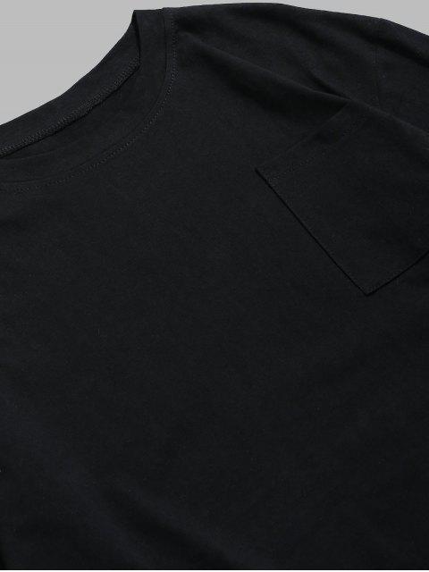 T-shirt Bicolore à Goutte Epaule - Noir 3XL Mobile