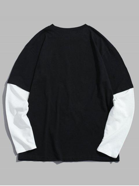 ladies Drop Shoulder Two Tone T Shirt - BLACK 2XL Mobile
