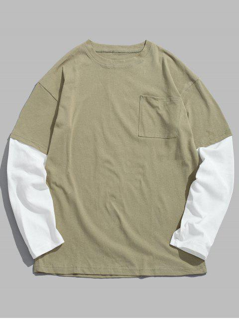 Caída de hombro de dos tonos de la camiseta - Verde L Mobile