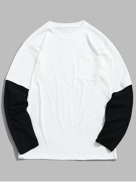 T-shirt Bicolore à Goutte Epaule - Blanc 2XL Mobile