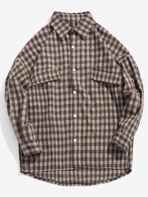 latest Houndstooth Loose Fitting High Low Shirt - COFFEE L Mobile