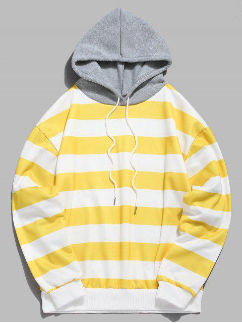 shop Contrast Striped Print Fleece Hoodie - YELLOW M Mobile
