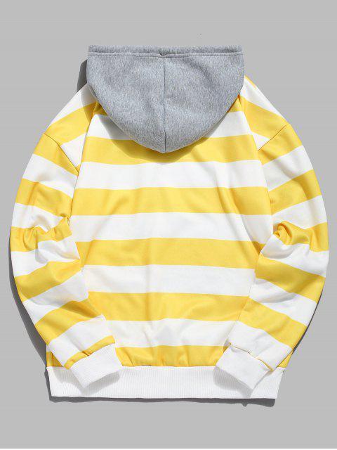 best Contrast Striped Print Fleece Hoodie - YELLOW XL Mobile