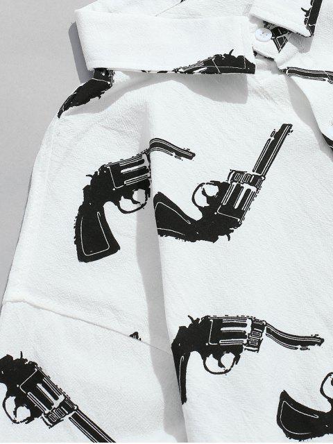 Chemise Graphique à Manches Longues avec Poche - Blanc XL Mobile