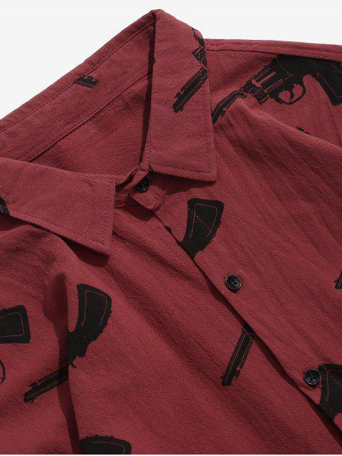best Long Sleeves Graphic Shirt with Pocket - RED 3XL Mobile