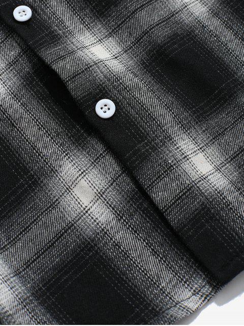 outfit Drop Shoulder Plaid Shirt with Pocket - BLACK XL Mobile