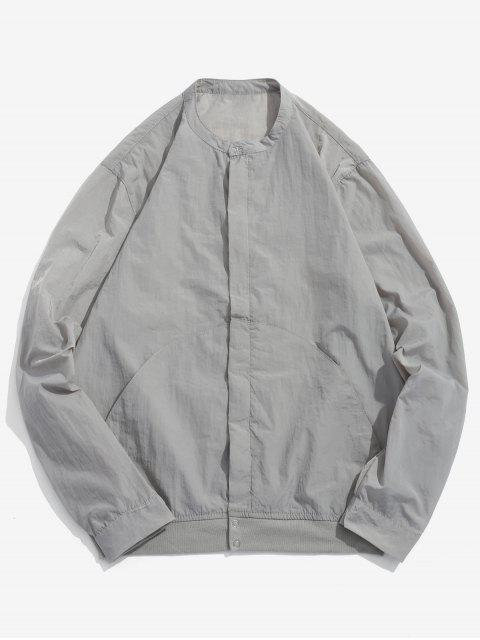 chic Front Pockets Zip Fly Jacket - GRAY GOOSE L Mobile