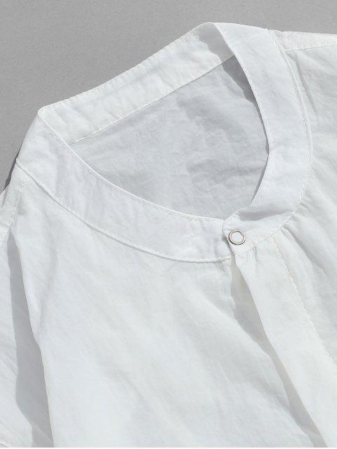 trendy Front Pockets Zip Fly Jacket - WHITE 4XL Mobile