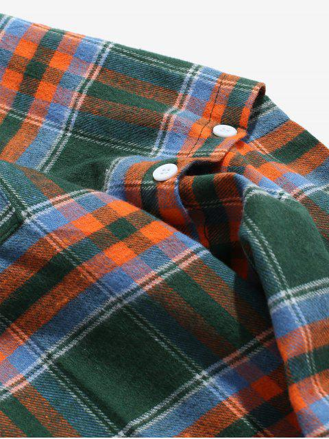 best Detachable Sleeves Plaid Shirt with Pockets - GREEN M Mobile