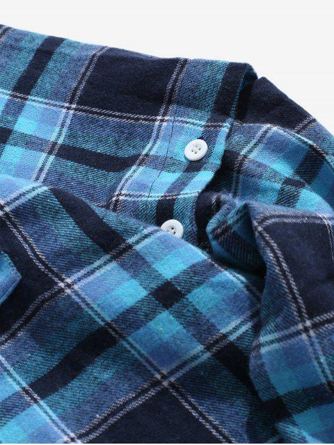 new Detachable Sleeves Plaid Shirt with Pockets - BLUE M Mobile