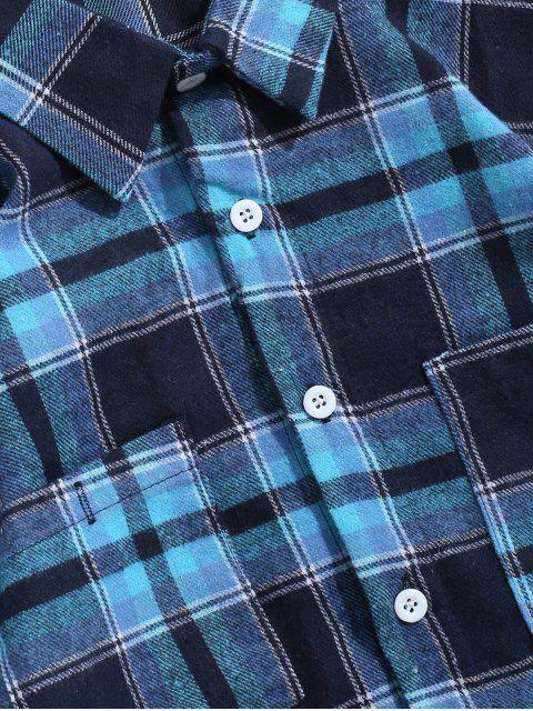 Camisa a cuadros desmontable a cuadros con bolsillos - Azul L Mobile
