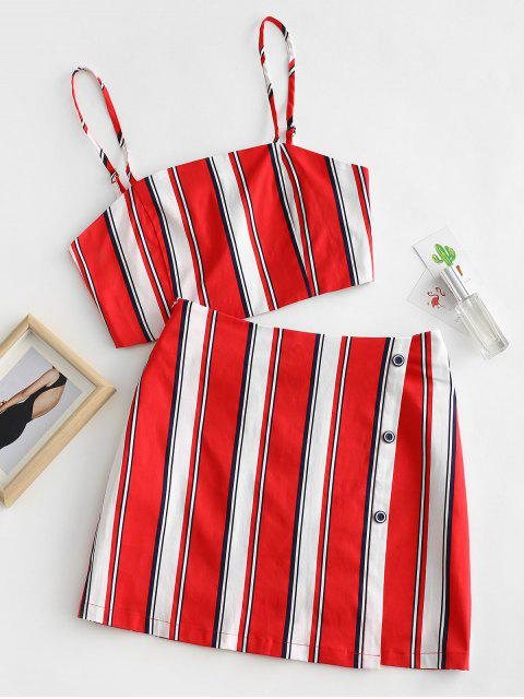 shop ZAFUL Stripes Top And Side Buttoned Skirt Set - LAVA RED L Mobile
