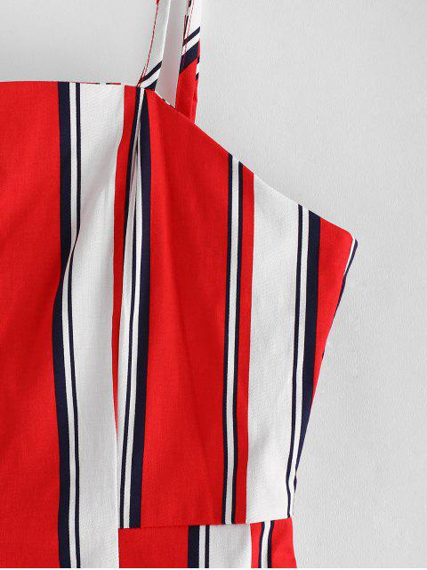 online ZAFUL Stripes Pockets Button Up Mini Dress - LAVA RED L Mobile