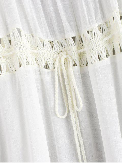 online Tassels Crochet Panel Off The Shoulder Dress - WHITE ONE SIZE Mobile
