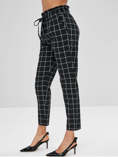 Pantalones a cuadros rectos con cordón - Negro L Mobile
