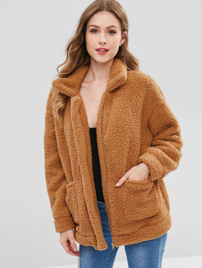 Zip Up Fluffy Faux Fur Winter Coat - Brown S