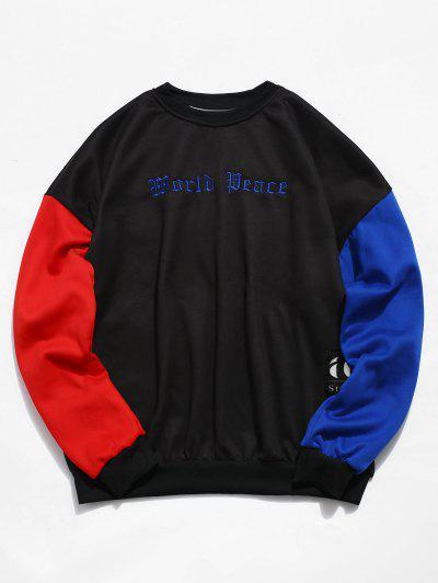 eaece9cfb73e Sleeve Colorblock Embroidery Fleece Sweatshirt - Black 2xl ...