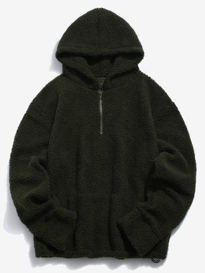6160fe55139 Solid Pocket Fluffy Hoodie - Army Green L