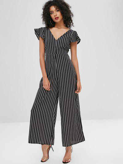 1ef34f894ca ... Stripes Open Back Wide Leg Jumpsuit - Black M
