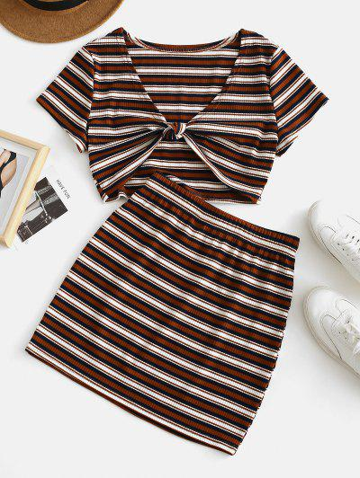 zaful ZAFUL Stripes Tie Front Ribbed Top Set