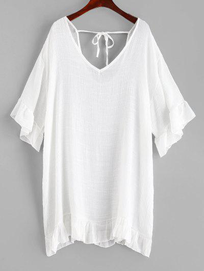 Ruffles Cover-up Dress - White