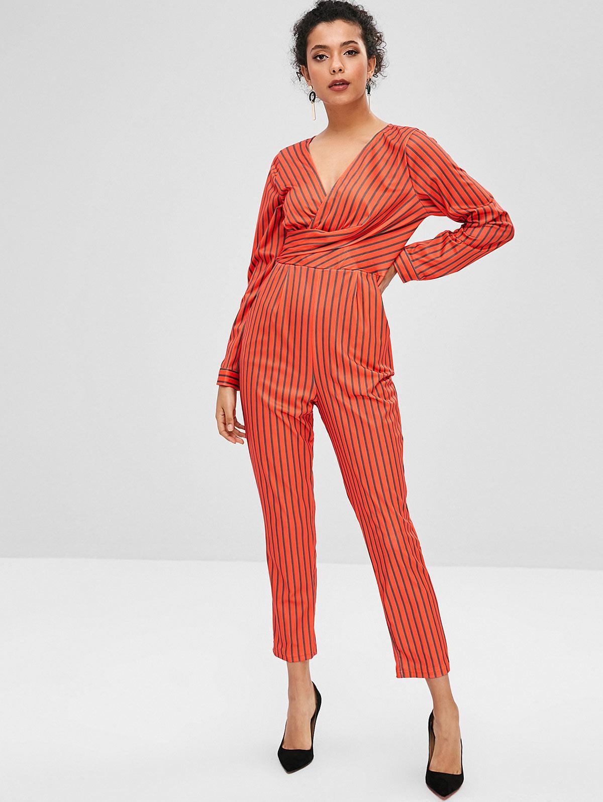 V Neck Striped Faux Twist Jumpsuit