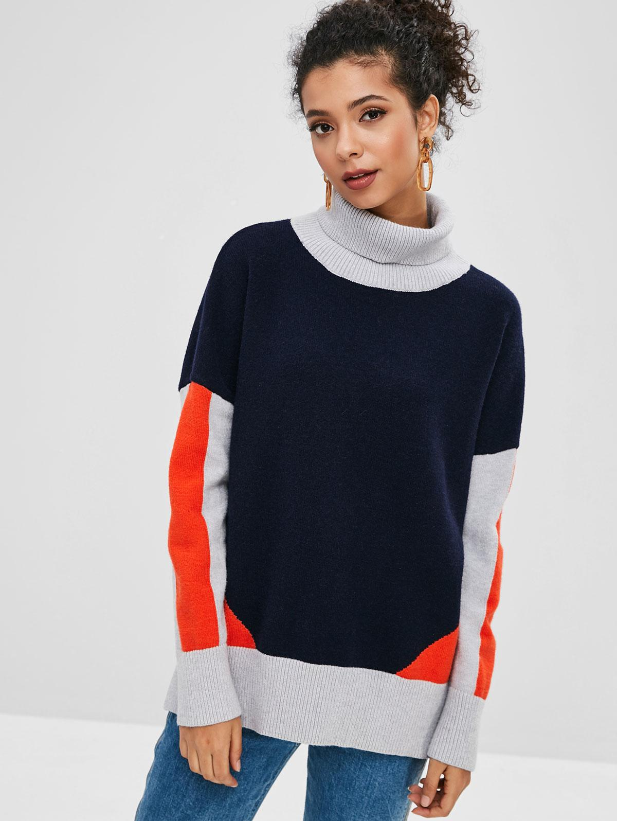 Slit Turtleneck Color Block Sweater