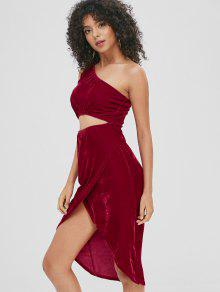 قص خارج المخملية فستان الكتف واحد - نبيذ احمر S