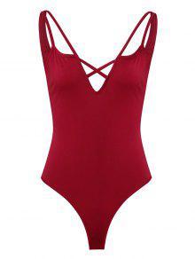 عارية الذراعين يغرق الصليب ثونغ Bodysuit - نبيذ احمر L