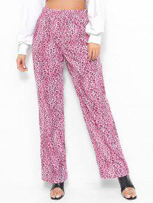 سروال واسع الساق ليوبارد طباعة - وردة زهرية L