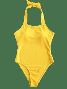 2a22099c4e 34% OFF  2019 ZAFUL Halter High Cut Ribbed Swimsuit In BRIGHT YELLOW ...