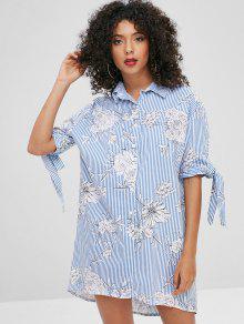 فستان بنمط قميص مطبع - متعدد Xl