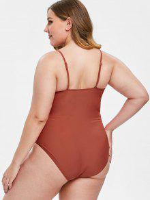 85a0c93ee78 37% OFF] 2019 ZAFUL Plus Size Knot One-piece Swimsuit In CHESTNUT ...