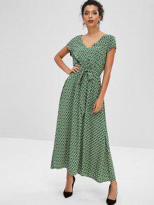 فستان ZAFUL Cap Sleeve Maxi بحزام - الغابة الخضراء L